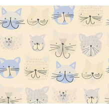 AS Création Papiertapete Boys & Girls 6 Tapete mit Katzen blau creme grau 367541 10,05 m x 0,53 m