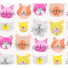AS Création Papiertapete Boys & Girls 6 Tapete mit Katzen gelb orange rosa 367542 10,05 m x 0,53 m