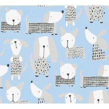 AS Création Papiertapete Boys & Girls 6 Tapete mit niedlichen Hunden blau weiß 367551