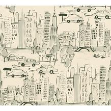 AS Création Papiertapete Boys & Girls 6 Tapete New York creme grau schwarz 367532 10,05 m x 0,53 m