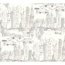 AS Création Papiertapete Boys & Girls 6 Tapete New York grau metallic weiß 367533 10,05 m x 0,53 m