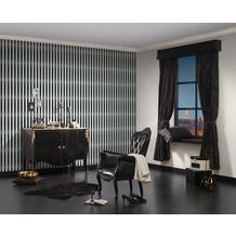 AS Création Streifentapete mit Glitter Bling Bling, Vliestapete, schwarz, weiß 10,05 m x 0,53 m