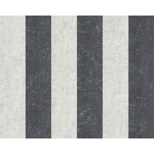 AS Création Streifentapete Bohemian Burlesque, Tapete, perlweiß, graublau, metallic 960787 10,05 m x 0,53 m