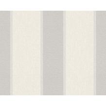 AS Création Streifentapete Fleece Royal, Tapete, metallic, weiß 961861