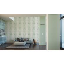 AS Création Streifentapete Reflection Vliestapete Tapete grün metallic weiß 10,05 m x 0,53 m