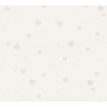 AS Création Strukturprofiltapete Boys & Girls 6 Tapete Herzen Love beige creme metallic 357501 10,05 m x 0,53 m