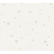 AS Création Strukturprofiltapete Boys & Girls 6 Tapete Herzen Love beige creme metallic 357501