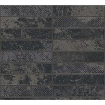 AS Création Strukturprofiltapete Il Decoro Tapete in Klinker Optik metallic schwarz 348184 10,05 m x 0,53 m