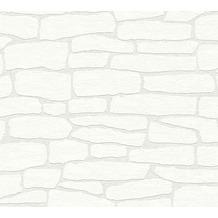 AS Création Vliestapete Meistervlies Tapete in Steinoptik überstreichbar weiß 355416 10,05 m x 0,53 m