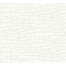 AS Création Vliestapete Meistervlies Tapete in Steinoptik überstreichbar weiß 355515 25,00 m x 1,06 m