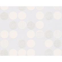 AS Création Unitapete Life 3, Vliestapete, metallic, weiß 304117 10,05 m x 0,53 m