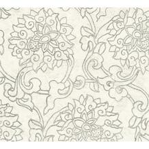 AS Création Vliestapete Asian Fusion Blumentapete asiatisch metallic creme grau 374702 10,05 m x 0,53 m