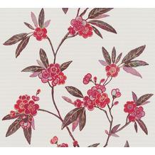 AS Création Vliestapete Asian Fusion Blumentapete asiatisch metallic grau beige 374723 10,05 m x 0,53 m