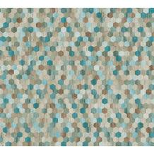 AS Création Vliestapete Asian Fusion geometrische Tapete asiatisch blau grün braun 374632 10,05 m x 0,53 m