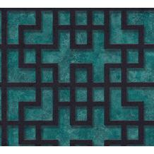 AS Création Vliestapete Asian Fusion geometrische Tapete asiatisch blau grün schwarz 374651 10,05 m x 0,53 m