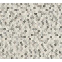 AS Création Vliestapete Asian Fusion geometrische Tapete asiatisch grau schwarz weiß 374633 10,05 m x 0,53 m