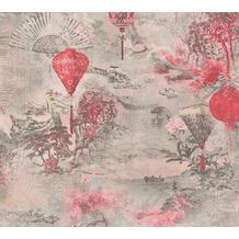 AS Création Vliestapete Asian Fusion Tapete asiatisch grau rot schwarz 374662 10,05 m x 0,53 m