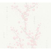 AS Création Vliestapete Asian Fusion Tapete Kirschblüten asiatisch metallic weiß rosa 374691 10,05 m x 0,53 m