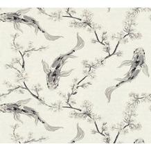 AS Création Vliestapete Asian Fusion Tapete Kirschblüten und Kois asiatisch weiß grau 374622 10,05 m x 0,53 m
