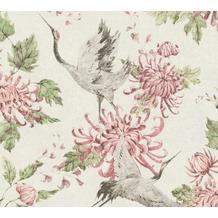 AS Création Vliestapete Asian Fusion Vogeltapete asiatisch weiß rosa grau 374642 10,05 m x 0,53 m