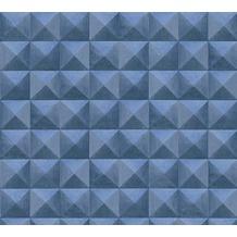 AS Création Vliestapete Authentic Walls 2 Tapete in 3D Optik geometrisch blau 362753 10,05 m x 0,53 m