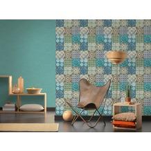 AS Création Vliestapete Authentic Walls 2 Tapete in Fliesen Optik blau gelb grün 10,05 m x 0,53 m
