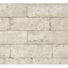 AS Création Vliestapete Authentic Walls 2 Tapete in Stein Optik beige grau schwarz 366201 10,05 m x 0,53 m