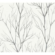 AS Création Vliestapete Blooming Tapete Ast Optik grau schwarz metallic 372604