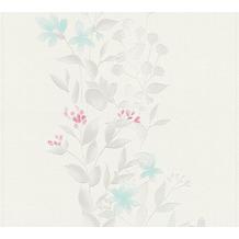AS Création Vliestapete Blooming Tapete floral weiß grau beige 372662 10,05 m x 0,53 m