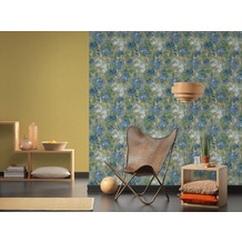 AS Création Vliestapete Character Tapete mit Rosen floral blau grau grün 10,05 m x 0,53 m