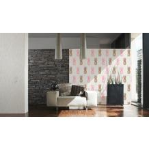 AS Création Vliestapete Club Tropicana Tapete Ananas weiß rosa braun 10,05 m x 0,53 m