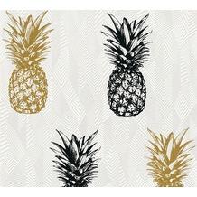 AS Création Vliestapete Club Tropicana Tapete Ananas weiß schwarz 359971 10,05 m x 0,53 m