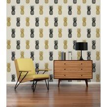 AS Création Vliestapete Club Tropicana Tapete Ananas weiß schwarz 10,05 m x 0,53 m