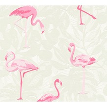 AS Création Vliestapete Club Tropicana Tapete Flamingos creme rosa weiß 359801 10,05 m x 0,53 m