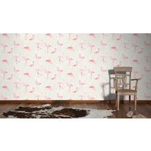 AS Création Vliestapete Club Tropicana Tapete Flamingos creme rosa weiß 10,05 m x 0,53 m