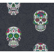 AS Création Vliestapete Club Tropicana Tapete Sugar Skulls bunt metallic schwarz 358173 10,05 m x 0,53 m