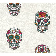 AS Création Vliestapete Club Tropicana Tapete Sugar Skulls bunt metallic weiß 358172 10,05 m x 0,53 m