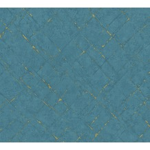 AS Création Vliestapete Emotion Graphic Tapete in Vintage Optik blau metallic 368815 10,05 m x 0,53 m