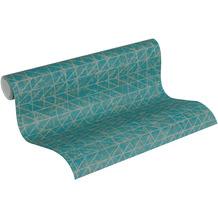 AS Création Vliestapete Ethnic Origin Tapete geometrisch grafisch blau grün metallic 10,05 m x 0,53 m