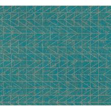 AS Création Vliestapete Ethnic Origin Tapete geometrisch grafisch blau grün metallic 371744
