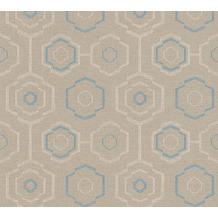 AS Création Vliestapete Ethnic Origin Tapete geometrisch grafisch creme blau grau 371771 10,05 m x 0,53 m