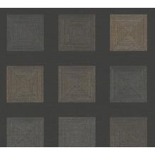 AS Création Vliestapete Ethnic Origin Tapete geometrisch grafisch metallic schwarz 371724