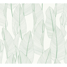 AS Création Vliestapete Exotic Life Tapete mit Blättern floral grün weiß 364971 10,05 m x 0,53 m