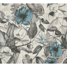 AS Création Vliestapete Greenery Tapete mit Blätter Motiv grau weiß blau 372162 10,05 m x 0,53 m