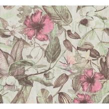 AS Création Vliestapete Greenery Tapete mit Blätter Motiv grün rosa grau 372164 10,05 m x 0,53 m