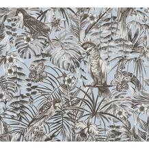 AS Création Vliestapete Greenery grau blau schwarz 372103 10,05 m x 0,53 m
