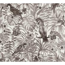AS Création Vliestapete Greenery grau weiß schwarz 372105 10,05 m x 0,53 m