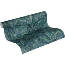 AS Création Vliestapete Greenery Tapete mit Palmenprint in Dschungel Optik grün blau 10,05 m x 0,53 m