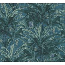 AS Création Vliestapete Greenery Tapete mit Palmenprint in Dschungel Optik grün blau 364801 10,05 m x 0,53 m