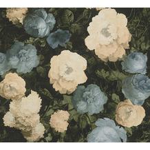 AS Création Vliestapete History of Art Rosentapete blau grün creme 376502 10,05 m x 0,53 m